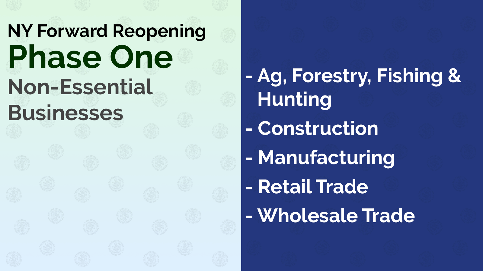 NY Forward Reopening Phase One: Non-Essential Businesses: - Ag, Forestry, Fishing & Hunting - Construction - Manufacturing - Retail Trade - Wholesale Trade
