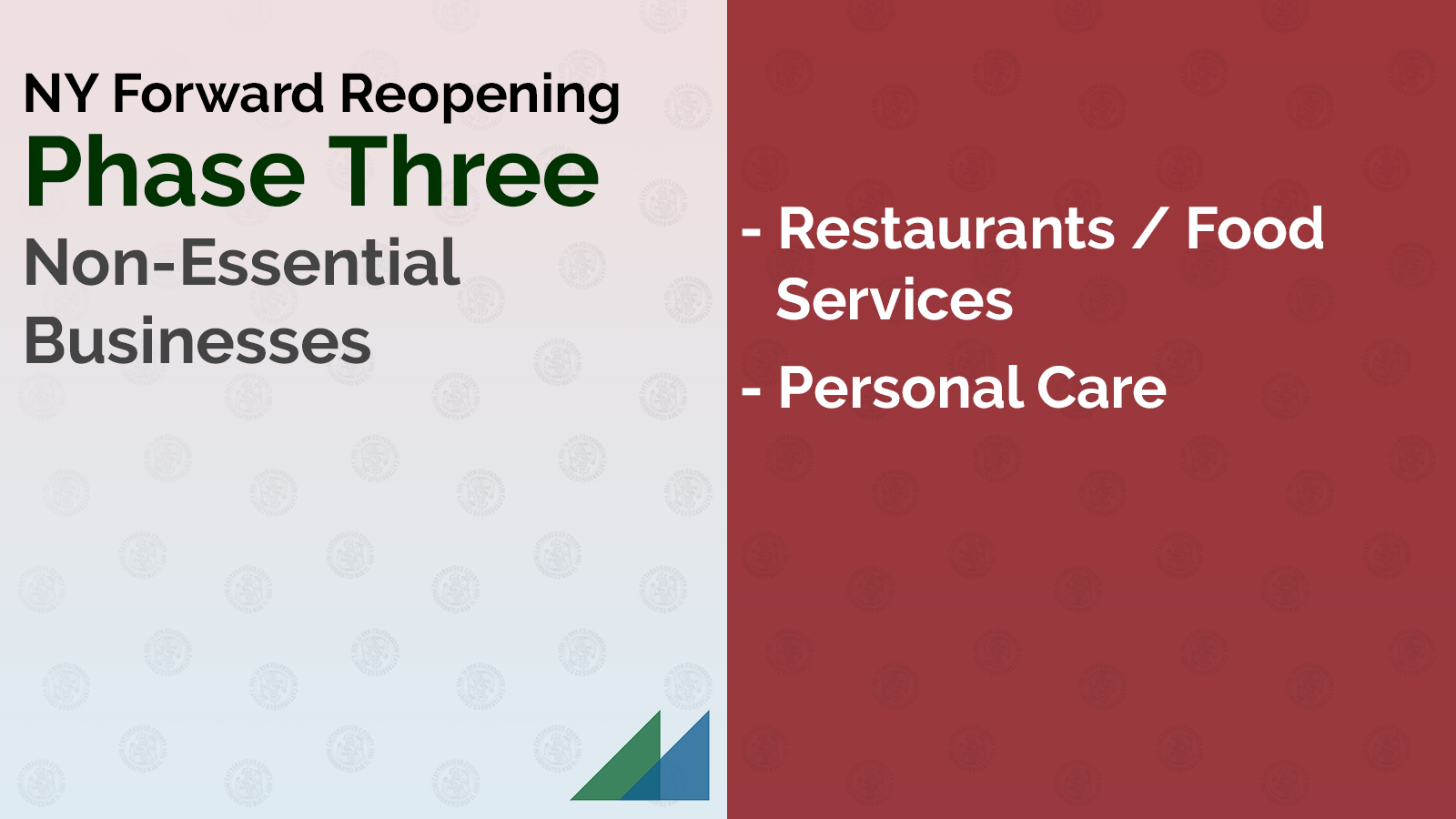 NY Forward Reopening Phase Three: Restaurants / Food Services and Personal Care