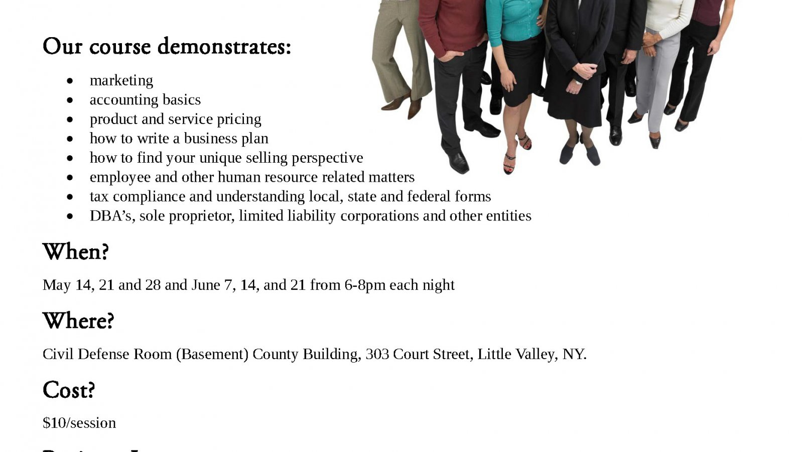 Spring 2014 Business Basics Class in Cattaraugus County