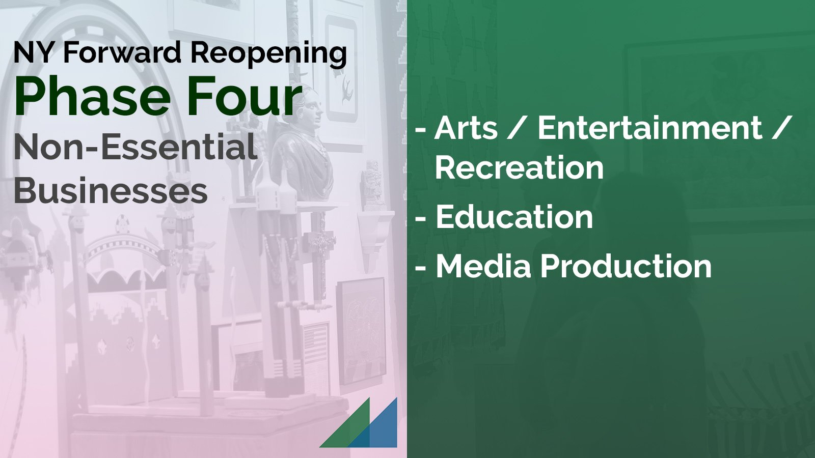 NY Forward Reopening Phase Four: Arts / Entertainment / Recreation, Education, and Media Production